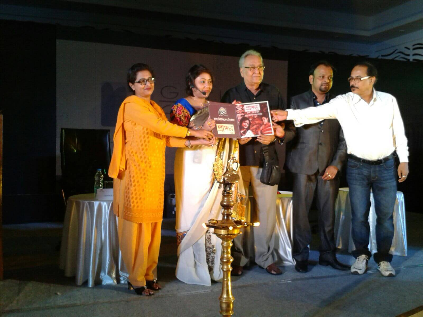 National Award winning actor Mr. Soumitra Chatterjee - at the event of book and cd launch for the book Prangon, published by 24by7Publishing.com.